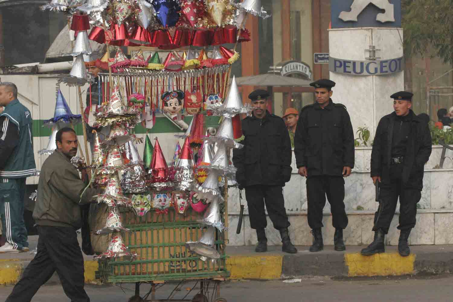 Egyptian security forces were heavily present during Eid prayers all over the major cities, for fear of demonstrations. Photo by Nasser Nouri , 30 December 2006.